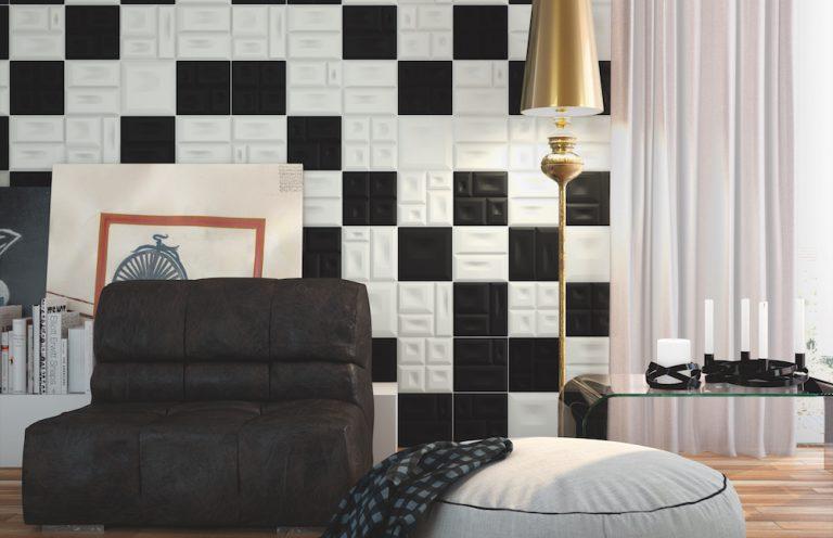 Ceramica tructure Blanco y Negro Mate 20x20
