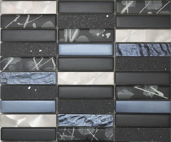 Mosaico Artist Black Cristal-Metal-Piedra Natural 2.3x9.8x8 (30x30)