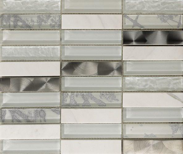 Mosaico Artist White Cristal-Metal-Piedra Natural 2.3x9.8x8 (30x30)