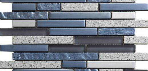 Mosaico Quartz Grey Cristal-Metal-Piedra Natural 5x5x8 (30x30)